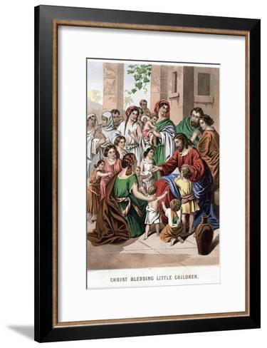 Christ Blessing Little Children, Mid 19th Century-Kronheim & Co-Framed Art Print