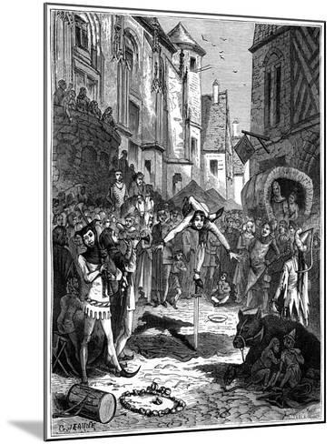 Medieval Acrobat and Street Entertainment, 1882-1884-G Jeanne-Mounted Giclee Print
