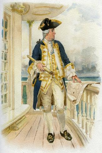 Admiral, 18th Century (C1890-C189)--Stretched Canvas Print