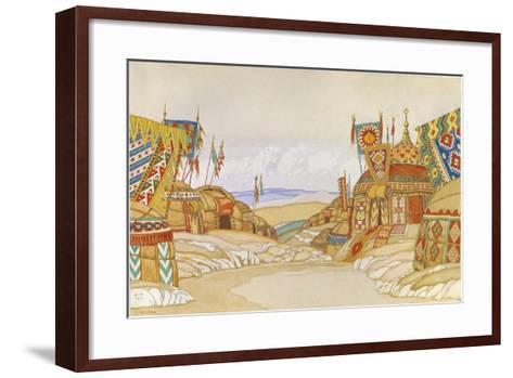 The Polovtsian Camp. Stage Design for the Opera Prince Igor by A. Borodin, 1930-Ivan Yakovlevich Bilibin-Framed Art Print