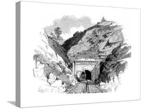Locomotive Emerging from the Kingwood Tunnel Through the Alleghany Mountains, 1861--Stretched Canvas Print