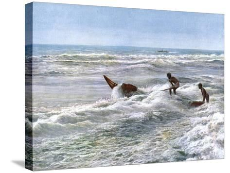 Launching a Catamaran Off the Coast of Madras, India, Early 20th Century--Stretched Canvas Print