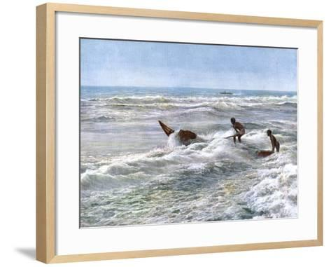 Launching a Catamaran Off the Coast of Madras, India, Early 20th Century--Framed Art Print