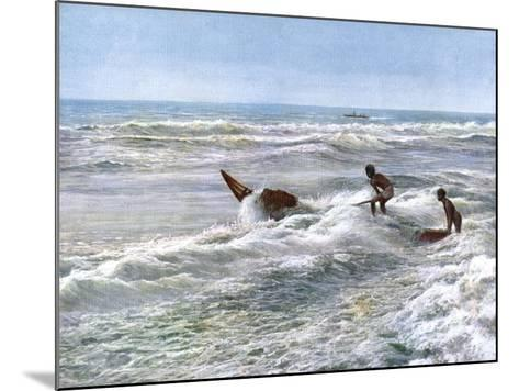 Launching a Catamaran Off the Coast of Madras, India, Early 20th Century--Mounted Giclee Print