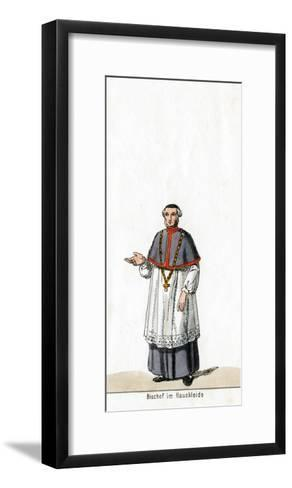 Bishop in House Dress, Costume Design for Shakespeare's Play, Henry VIII, 19th Century--Framed Art Print