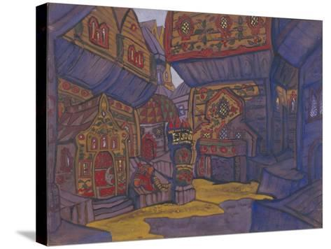 The Court of Prince Vladimir Galitsky, Stage Design for the Opera Prince Igor by A. Borodin, 1914-Nicholas Roerich-Stretched Canvas Print