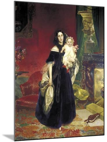 Maria Arkadyevna (Stolypin) Beck (1819-188) with Her Daughter, 1840-Karl Pavlovich Briullov-Mounted Giclee Print
