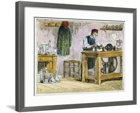 Glass Cutter Decorating Table Ware on a Carborundum Wheel, 1867--Framed Art Print