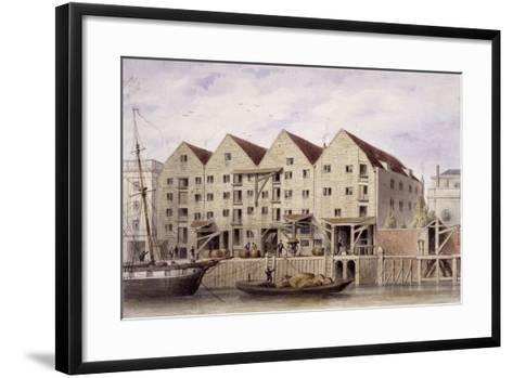 View of Chamberlain's Wharf, Tooley Street, Bermondsey, London, 1846-Thomas Hosmer Shepherd-Framed Art Print