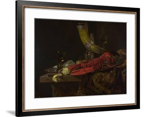 Still Life with the Drinking-Horn of the Saint Sebastian Archers' Guild, Lobster and Glasses-Willem Kalf-Framed Art Print