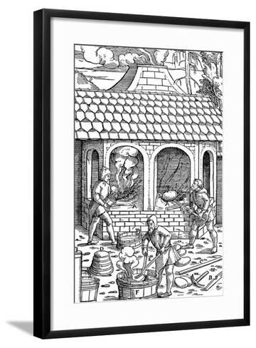 Refining Copper: Removing Cakes of Copper from the Crucible and Quenching in a Tub of Water, 1556--Framed Art Print