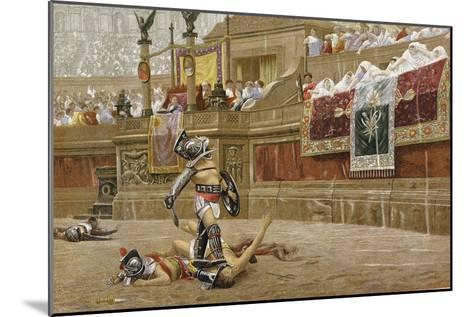Gladiators in the Roman Arena-Jean-Leon Gerome-Mounted Giclee Print