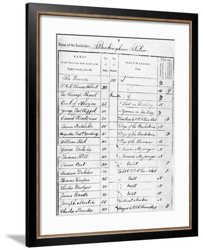 Page of Buckingham Palace Census Return for 1841--Framed Art Print