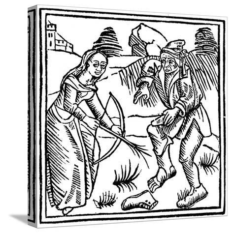 Witch Shooting a Man in the Foot with an Enchanted Arrow Made from a Hazel Wand, 1489--Stretched Canvas Print