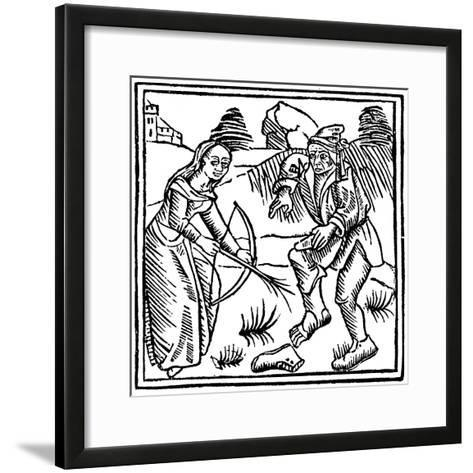 Witch Shooting a Man in the Foot with an Enchanted Arrow Made from a Hazel Wand, 1489--Framed Art Print