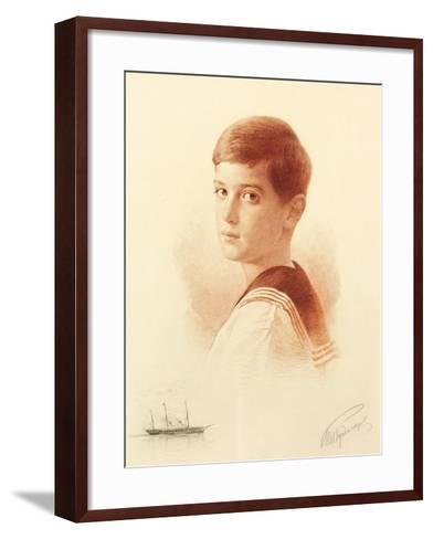 Portrait of the Successor to the Throne Tsarevich Alexei Nikolaevich of Russia, 1913-Mikhail Viktorovich Rundaltsov-Framed Art Print