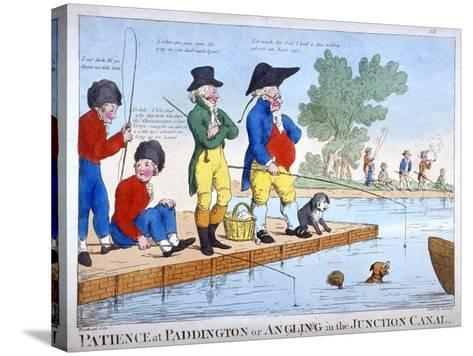 Patience at Paddington, or Angling in the Junction Canal, C1800-Roberts-Stretched Canvas Print