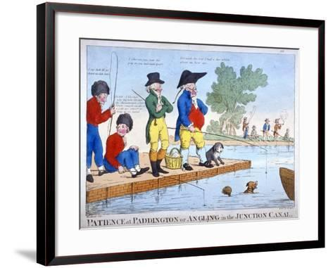 Patience at Paddington, or Angling in the Junction Canal, C1800-Roberts-Framed Art Print