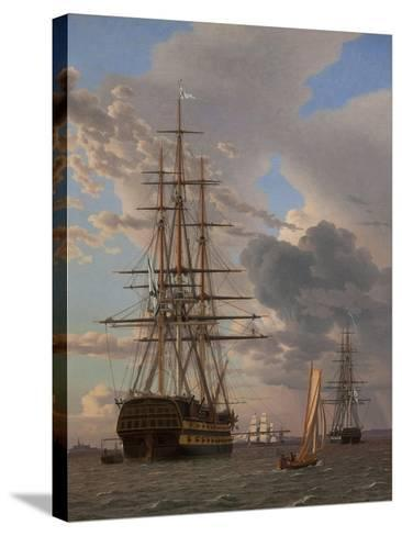The Russian Ship of the Line Azov and a Frigate at Anchor in the Roads of Elsinore, 1828-Christoffer-wilhelm Eckersberg-Stretched Canvas Print