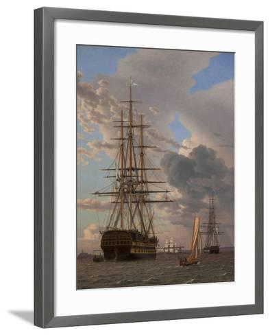 The Russian Ship of the Line Azov and a Frigate at Anchor in the Roads of Elsinore, 1828-Christoffer-wilhelm Eckersberg-Framed Art Print