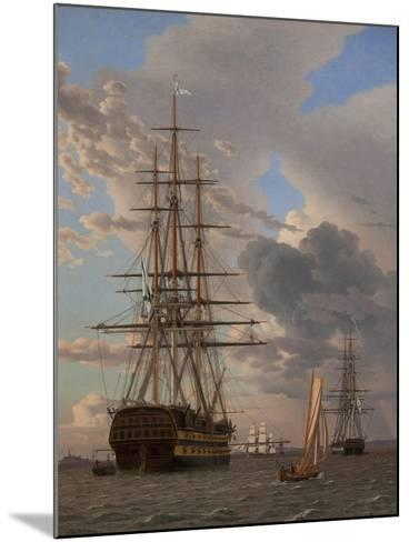 The Russian Ship of the Line Azov and a Frigate at Anchor in the Roads of Elsinore, 1828-Christoffer-wilhelm Eckersberg-Mounted Giclee Print
