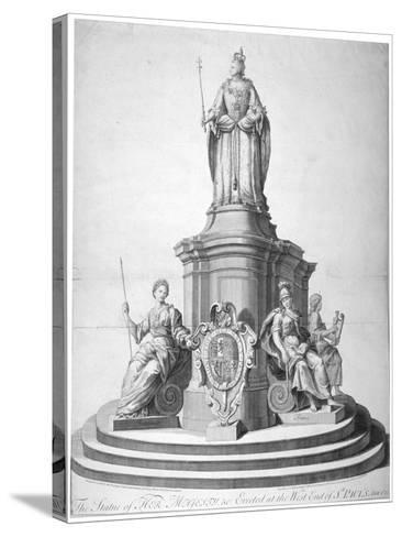 Statue of Queen Anne Erected as a Celebration of the Completion of St Paul's Cathedral, 1713--Stretched Canvas Print