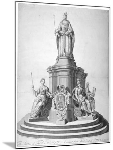 Statue of Queen Anne Erected as a Celebration of the Completion of St Paul's Cathedral, 1713--Mounted Giclee Print