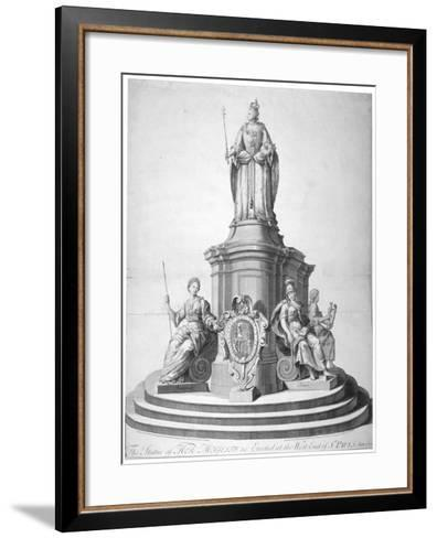 Statue of Queen Anne Erected as a Celebration of the Completion of St Paul's Cathedral, 1713--Framed Art Print