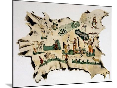 Native American Painting on Animal Skin, 19th Century--Mounted Giclee Print