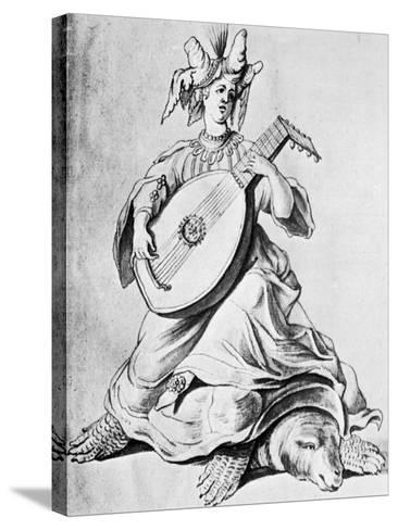 A Woman Playing a Stringed Instrument, Early 17th Century--Stretched Canvas Print