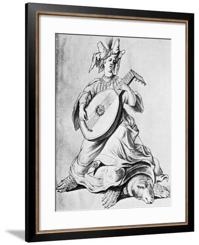 A Woman Playing a Stringed Instrument, Early 17th Century--Framed Art Print