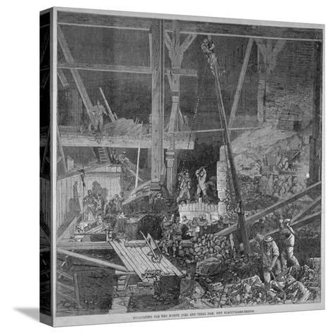 Excavation Work for the North Pier and Tidal Dam at Blackfriars Bridge, London, 1864--Stretched Canvas Print