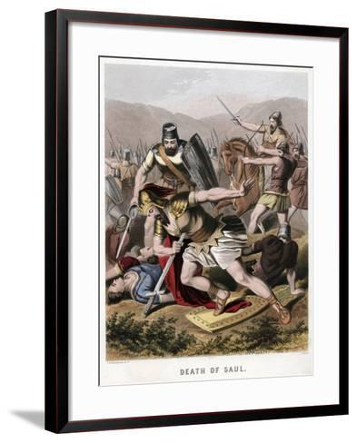 Death of Saul and His Armour Bearer in Battle with the Philistines, 1870-Kronheim & Co-Framed Art Print