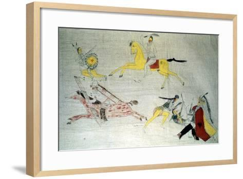 Sioux Warriors in Battle, C1890--Framed Art Print