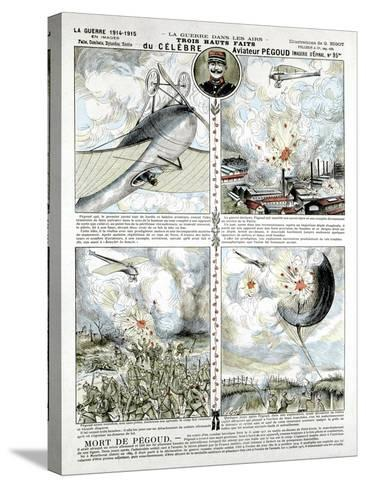 Broadsheet Showing Exploits of French Air Ace Adolphe Pegoud--Stretched Canvas Print
