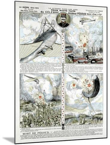 Broadsheet Showing Exploits of French Air Ace Adolphe Pegoud--Mounted Giclee Print