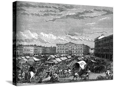 Nottingham Market Place, C1880--Stretched Canvas Print