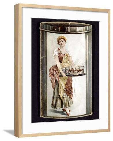 Trade Card for Tinned Frankfurters Produced by Heinrich Bauer of Frankfurt Am Main, Germany, C1895--Framed Art Print