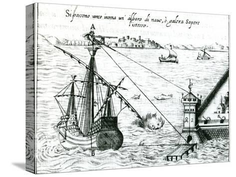 Measuring the Distance from Ship to Shore, Using a Quadrant Marked with Shadow-Scales, 1598--Stretched Canvas Print