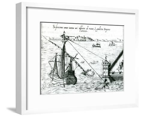 Measuring the Distance from Ship to Shore, Using a Quadrant Marked with Shadow-Scales, 1598--Framed Art Print