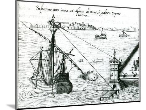 Measuring the Distance from Ship to Shore, Using a Quadrant Marked with Shadow-Scales, 1598--Mounted Giclee Print