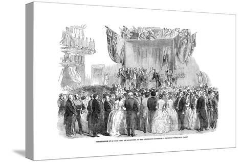 Presentation of a Gold Vase, at Melbourne, to the Lieutenant Governor of Victoria, 1854--Stretched Canvas Print
