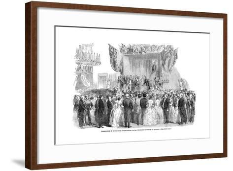 Presentation of a Gold Vase, at Melbourne, to the Lieutenant Governor of Victoria, 1854--Framed Art Print