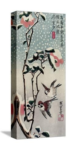Sparrows and Camellias in the Snow, 1830s-Utagawa Hiroshige-Stretched Canvas Print
