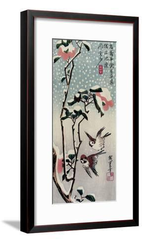 Sparrows and Camellias in the Snow, 1830s-Utagawa Hiroshige-Framed Art Print