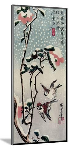 Sparrows and Camellias in the Snow, 1830s-Utagawa Hiroshige-Mounted Giclee Print