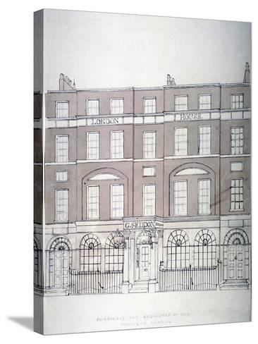 Front View of London House, Aldersgate Street, City of London, 1839--Stretched Canvas Print