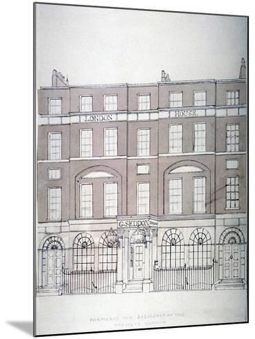 Front View of London House, Aldersgate Street, City of London, 1839--Mounted Giclee Print