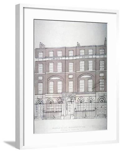 Front View of London House, Aldersgate Street, City of London, 1839--Framed Art Print