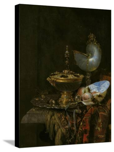 Pronk Still Life with Holbein Bowl, Nautilus Cup, Glass Goblet and Fruit Dish, 1678-Willem Kalf-Stretched Canvas Print